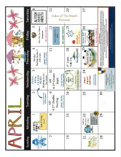 April Breakfast and Lunch Calendars