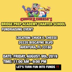 Chuck E. Cheese's back to school fundraiser!